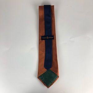 Tommy Hilfiger Accessories - Tommy Hilfiger Mens 100% Silk Orange Striped Tie